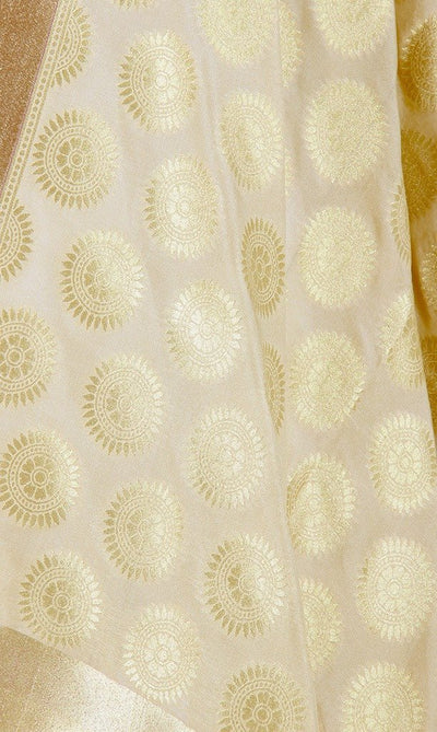 Cream Art Silk Banarasi Dupatta with aesthetic sun motifs PCJB01N116 (2) Close up