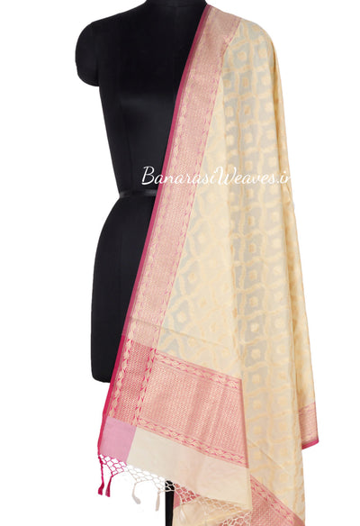 Cream Art Silk Banarasi Dupatta with dual color zari jaal (1) Main