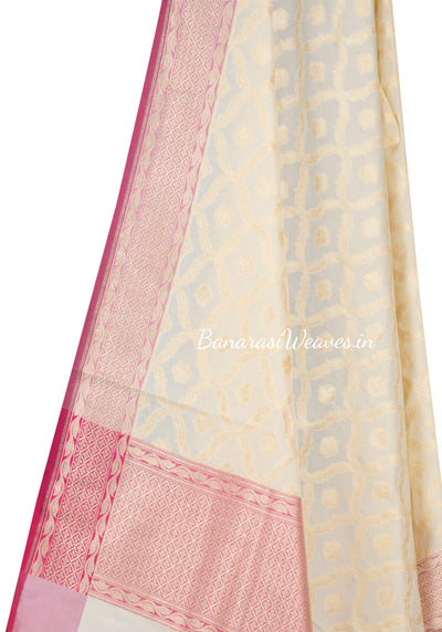 Cream Art Silk Banarasi Dupatta with dual color zari jaal (2) Close up