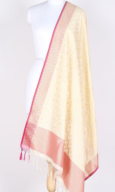 Cream Art Silk Banarasi Dupatta with dual color zari jaal SSRVDAS551 (1) Main
