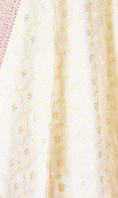 Cream Art Silk Banarasi Dupatta with dual color zari jaal SSRVDAS551 (2) Close up