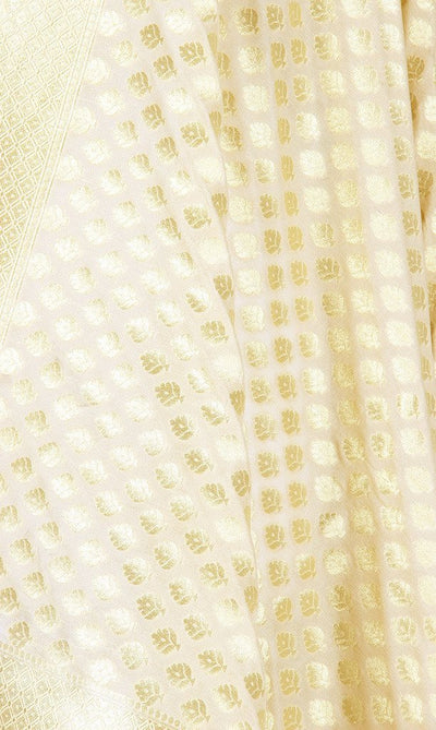 Cream Art Silk Banarasi Dupatta with mini flower motifs PCRVDAS119 (2) Close up