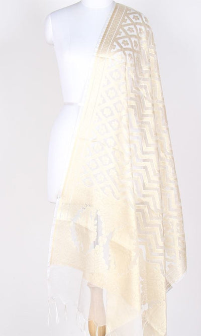 Cream Silk Tissue Banarasi Dupatta with Chevron pattern jaal PCRVDAS02JT01 (1) Main