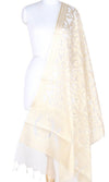 Cream Silk Tissue Banarasi Dupatta with Stylized jaal PCRVDAS02JT02 (1) Main
