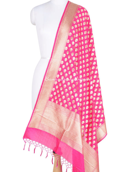 Pink Banarasi Dupatta with abstract shaped motifs (1) Main