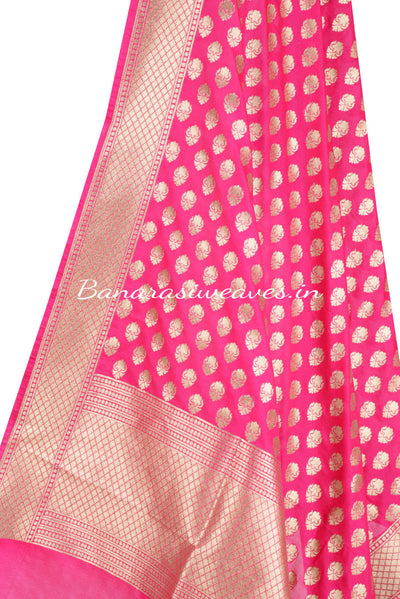 Pink Banarasi Dupatta with abstract shaped motifs (2) Close up