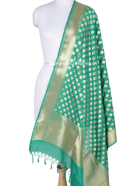 Light Green Banarasi Dupatta abstract shaped motifs (1) Main