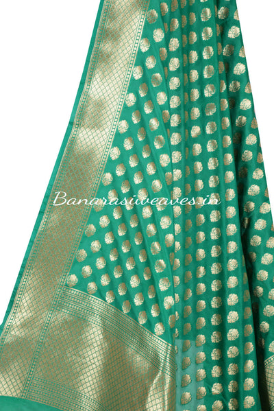 Light Green Banarasi Dupatta abstract shaped motifs (2) Close up