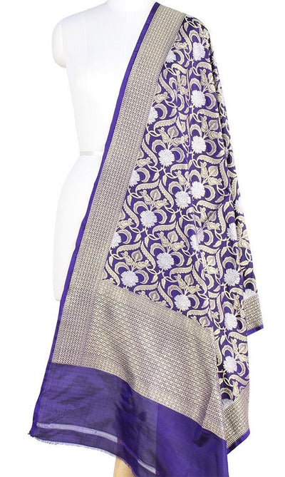 Dark Blue Katan Silk Banarasi Dupatta with stylized jaal and zari work PCRVD01B09 (1) Main