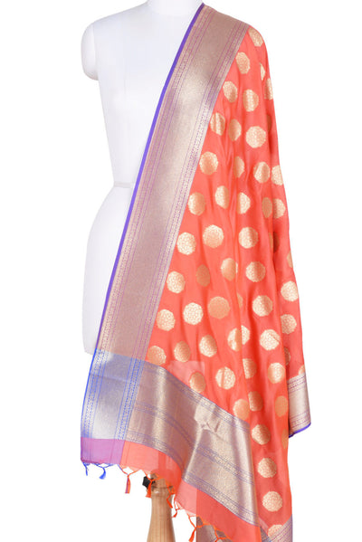 Dark Orange Banarasi Dupatta with subtle floral motifs (1) Main
