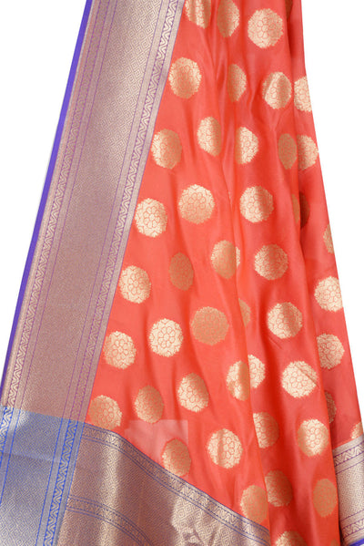 Dark Orange Banarasi Dupatta with subtle floral motifs (2) Close up