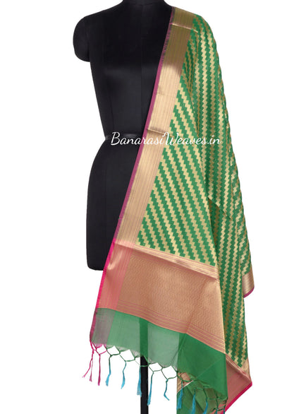 Green Art Silk Banarasi Dupatta with diagonal zigzag stripes (1) Main