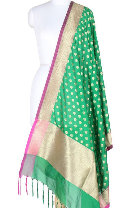 Green Art Silk Banarasi dupatta with flower bud motifs SSJB01N73 (1) Main