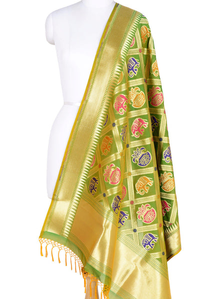 Green Banarasi Dupatta with big patan patola design (1) Main