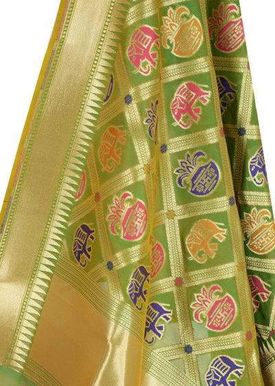 Green Banarasi Dupatta with big patan patola design (2) Close up