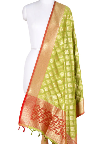 Green Banarasi Dupatta with drop motifs arranged in diamond pattern (1) Main