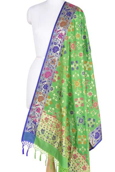 Green Banarasi Dupatta with geomatrical design (1) Main