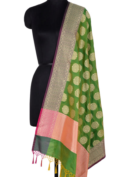 Green Banarasi Dupatta with lotus motifs (1) Main