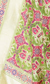 Green Katan Silk Handwoven Banarasi Dupatta with patan patola pattern PCRVDKS01PD01 (2) Close up