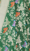 Green Katan Silk Hanwoven Banarasi Dupatta with flower and butterfly jaal PCRVDKS03BY05 (2) Close up