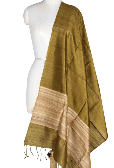 Green Tussar Dupion Raw silk Solid woven dupatta (1) Main