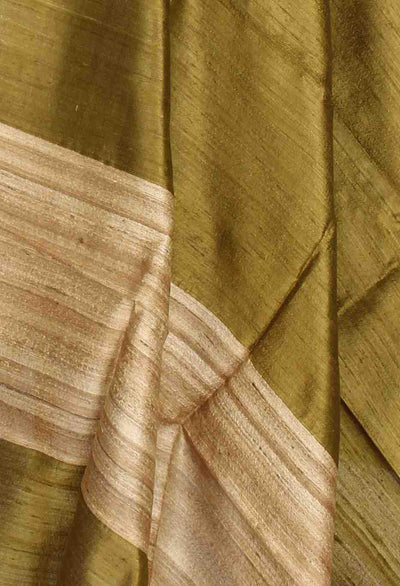 Green Tussar Dupion Raw silk Solid woven dupatta (2) Close up