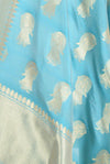 Italian Sky Blue Banarasi dupatta with Dancing lady motifs (2) Closeup