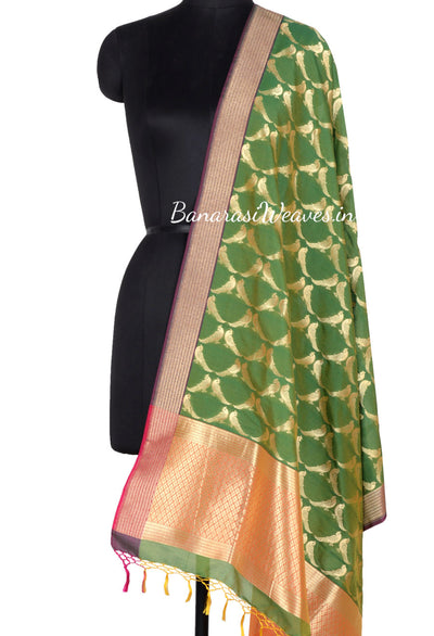 Kelly Green Art Silk Banarasi Dupatta with bird motifs (1) Main