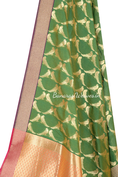 Kelly Green Art Silk Banarasi Dupatta with bird motifs (2) Close up