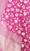 Lilac Katan Silk Handwoven Banarasi dupatta with flower jaal PCARS05KS13 (2) Close up