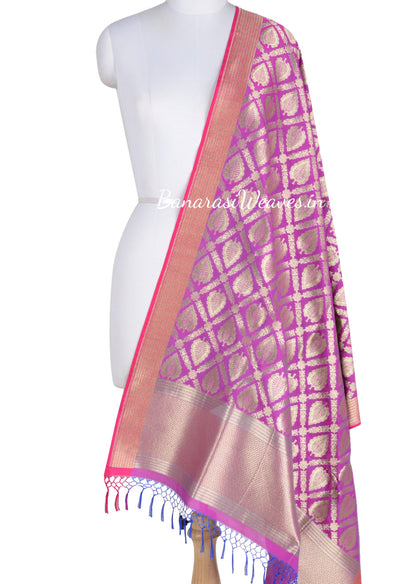 Magenta Art Silk Banarasi Dupatta with leaf motifs in grid jaal (1) Main