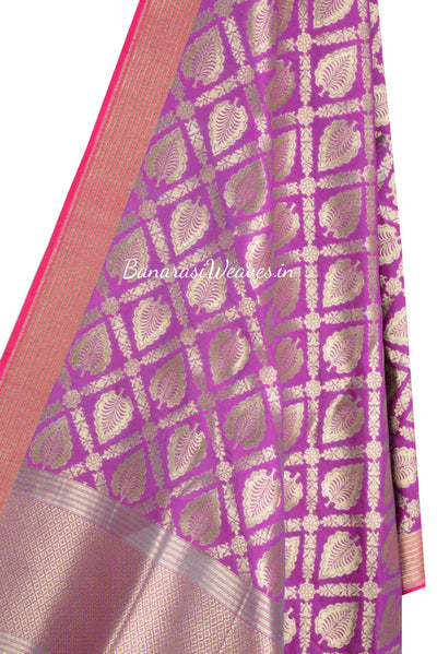 Magenta Art Silk Banarasi Dupatta with leaf motifs in grid jaal (2) Close up