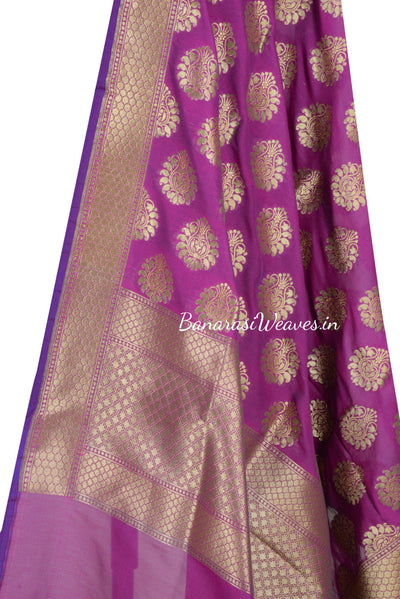 Magenta Art Silk Banarasi Dupatta with stylized motifs (2) Close up