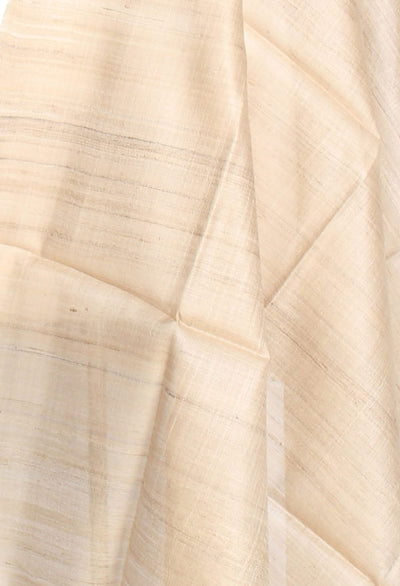 Natural color Tussar Raw silk Solid woven dupatta (2) Close up