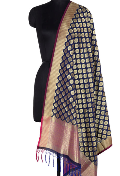 Navy Blue Art Silk Banarasi Dupatta with ogee pattern motifs (1) Main