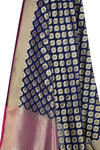 Navy Blue Art Silk Banarasi Dupatta with ogee pattern motifs (2) Close up