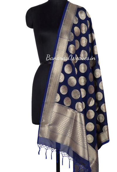 Navy Blue Art Silk Banarasi Dupatta with stylized circular floral motifs and orange edge (1) Main