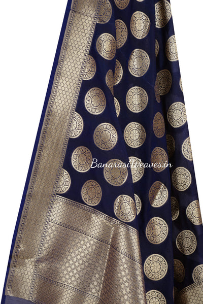 Navy Blue Art Silk Banarasi Dupatta with stylized circular floral motifs and orange edge (2) Close up
