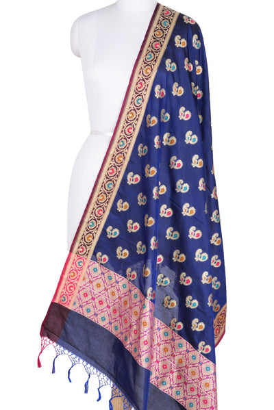 Navy Blue Silk Banarasi Dupatta with multi color peacock motifs (1) Main