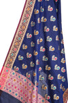 Navy Blue Silk Banarasi Dupatta with multi color peacock motifs (2) Close up