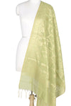 Olive Green Art Silk Cotton Banarasi Dupatta with flower and leaf jaal