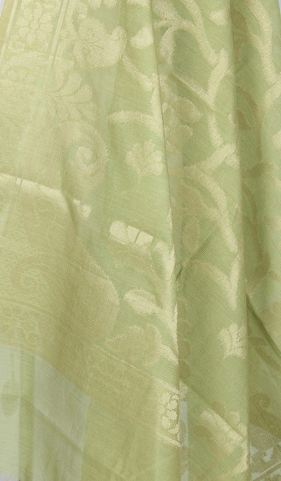 Olive Green Art Silk Cotton Banarasi Dupatta with flower and leaf jaal (2) Close up