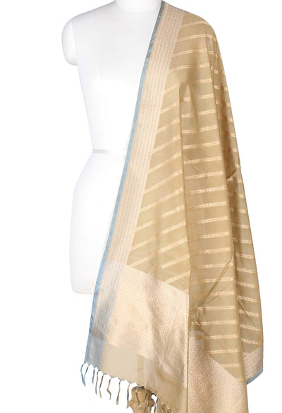 Olive Green Katan Silk Banarasi Dupatta with diagonal stripes