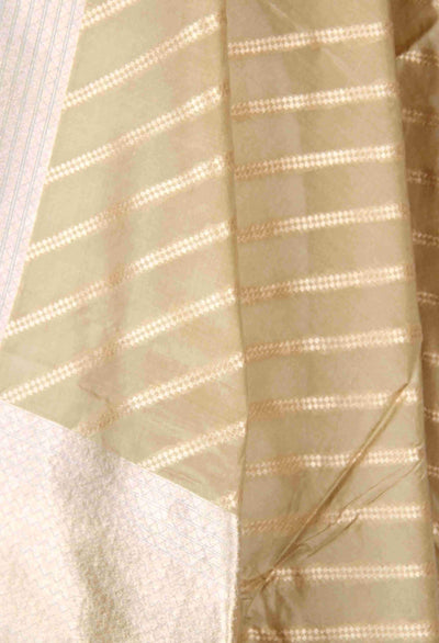 Olive Green Katan Silk Banarasi Dupatta with diagonal stripes (2) Close up
