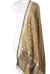 Olive green silk handwoven Banarasi dupatta with mini flower motifs