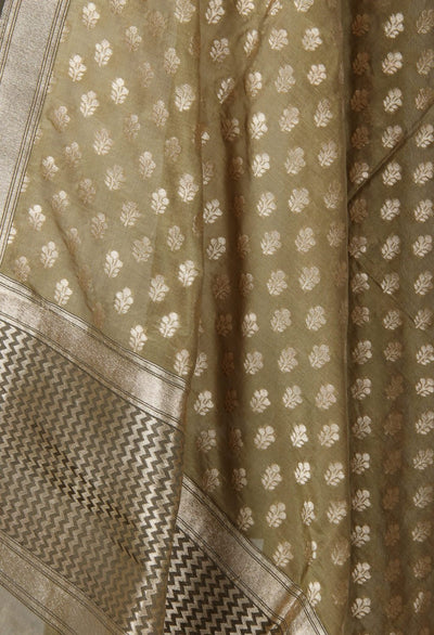 Olive green silk handwoven Banarasi dupatta with mini flower motifs (2) Close up