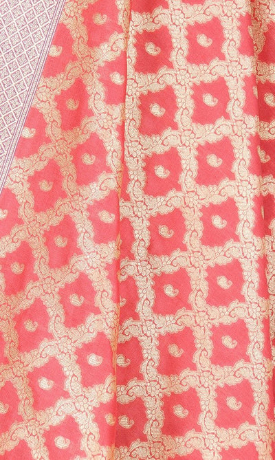 Coral Art Silk Banarasi Dupatta with floral jaal and paisley motifs PCRVD04JJ05 (2) Close up