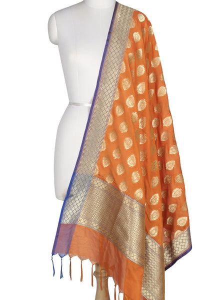 Orange Art Silk Banarasi Dupatta with leaf motifs in gold