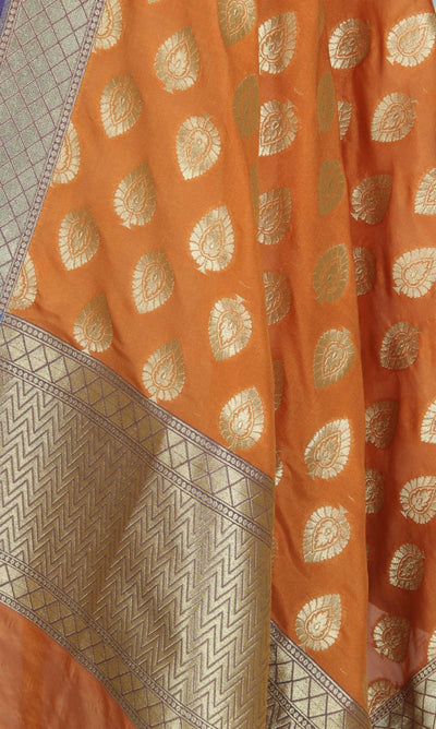 Orange Art Silk Banarasi Dupatta with leaf motifs in gold (2) Close up