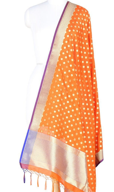 Orange Art Silk Banarasi Dupatta with small floral booti PCRVDAS112 (1) MAIN